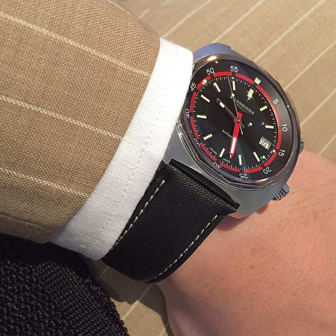 The Longines Heritage Diver also works well with a suit.