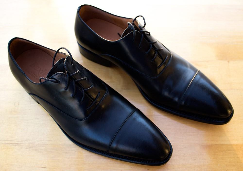 Bexley's Italian-styled captoed Oxfords are a great choice with a dark suit.
