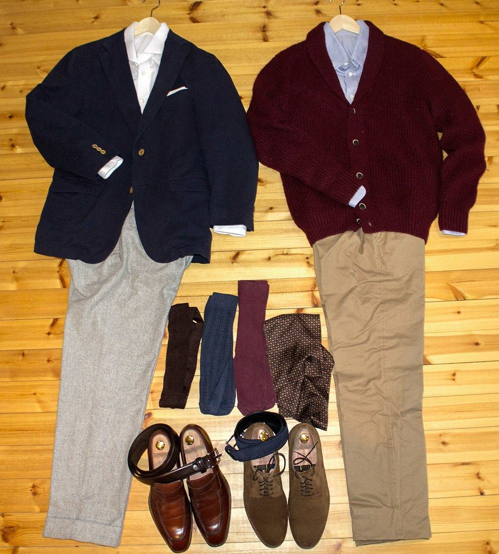 Pictured are two outfit in the business casual style. The articles of clothing were picked in such a way that any could be swapped between the two outfits and the result would still look good.