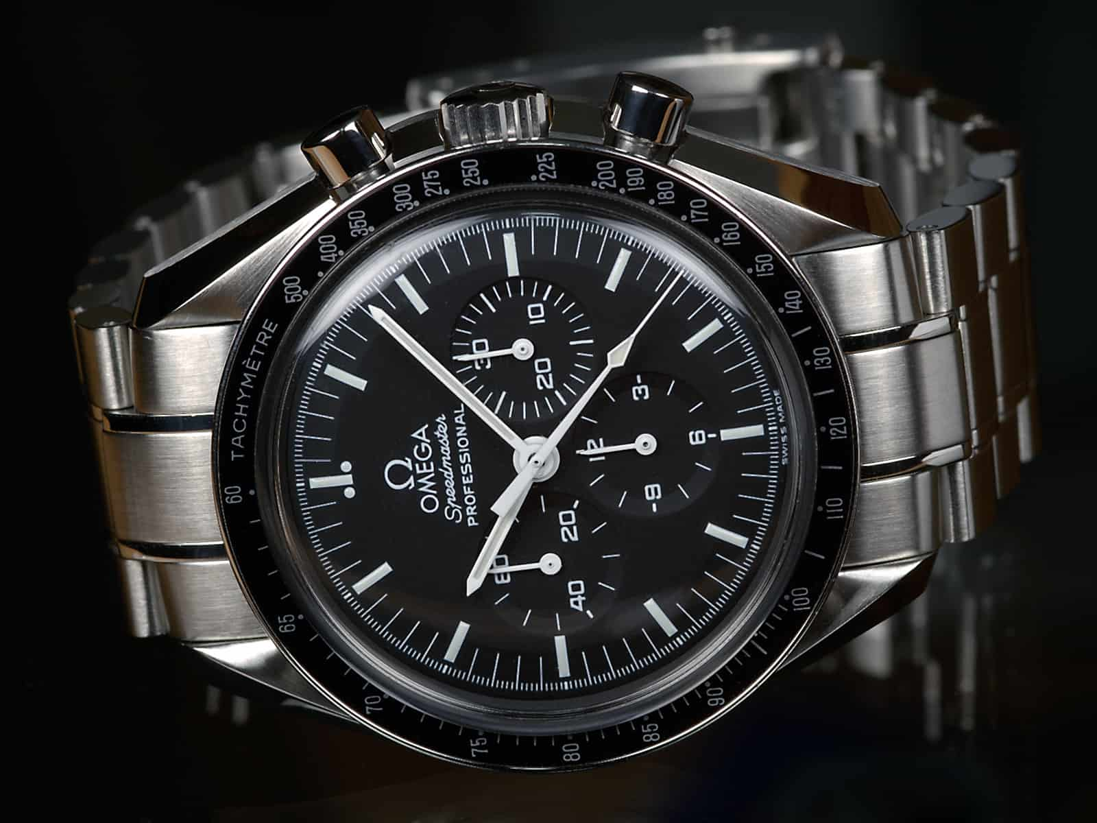 Omega Speedmaster Professional has seen few changes in 60 years – pictured is the current model 311.30.42.30.01.005. Image: Wikimedia Commons