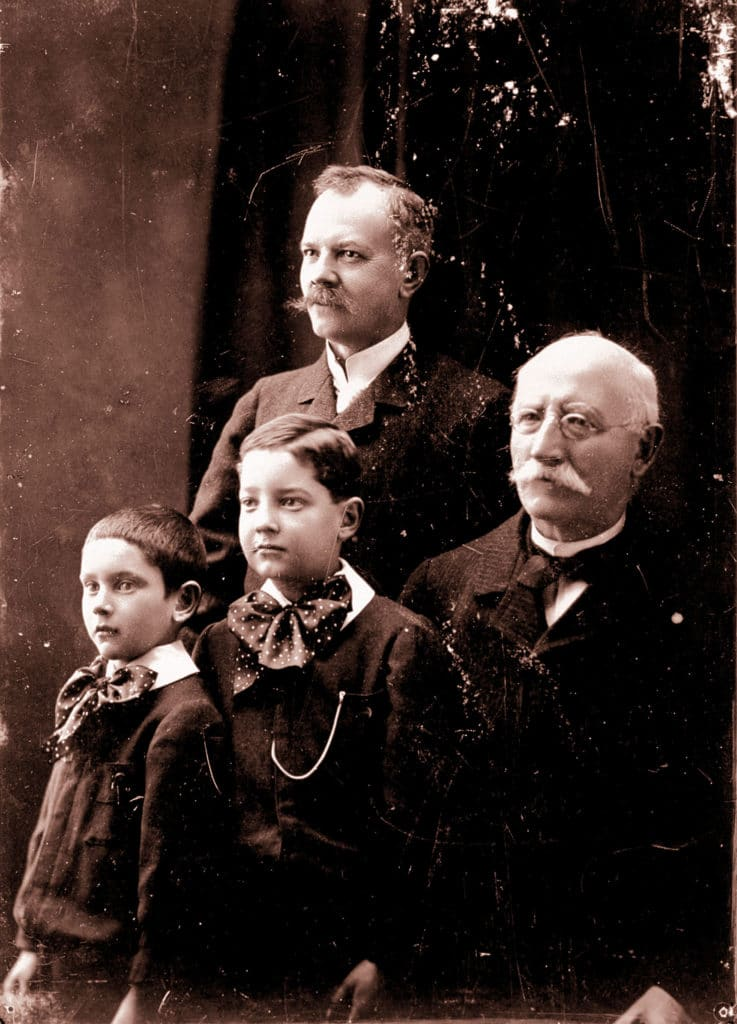 Three generations of the Chopard family. Right to left; Louis-Ulysse, his son Paul-Louis, whose son Paul-André is on the far left.